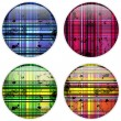 Glass Circle Button Colorful Stripes — Stock Vector