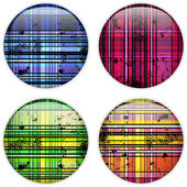 Glass Circle Button Colorful Stripes — Stockvektor