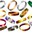 Metal Rings Bracelets Wristband Set — Stock Vector