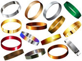 Anillos de metal pulseras pulsera conjunto — Vector de stock
