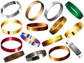 Metalowe pierścionki bransoletki zestaw taśmy na przegub ręki — Wektor stockowy