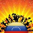 Venezuela Sport Fan Crowd with Flag — Imagen vectorial
