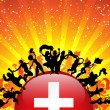 Switzerland Sport Fan Crowd with Flag - Imagen vectorial