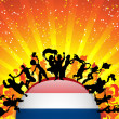 Netherlands Sport Fan Crowd with Flag - Stok Vektör