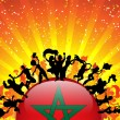 Morocco Sport Fan Crowd with Flag - Imagen vectorial