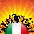 Italy Sport Fan Crowd with Flag - Imagen vectorial