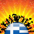 Greece Sport Fan Crowd with Flag — Stock Vector