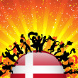 Denmark Sport Fan Crowd with Flag — Stock Vector
