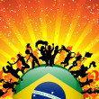 Brazil Sport Fan Crowd with Flag — Stock Vector #11927015