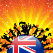 Australia Sport Fan Crowd with Flag — Imagen vectorial