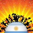 Argentina Sport Fan Crowd with Flag — Imagen vectorial