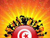 Turkey Sport Fan Crowd with Flag — Stock Vector