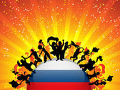 Multitud de fans de deporte de Rusia con bandera — Vector de stock