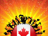 Kanada spor fan kalabalık bayrak ile — Stok Vektör