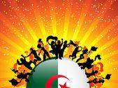 Algeria Sport Fan Crowd with Flag — Stock Vector