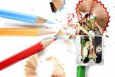 Pencils and sharpener — Stock Photo
