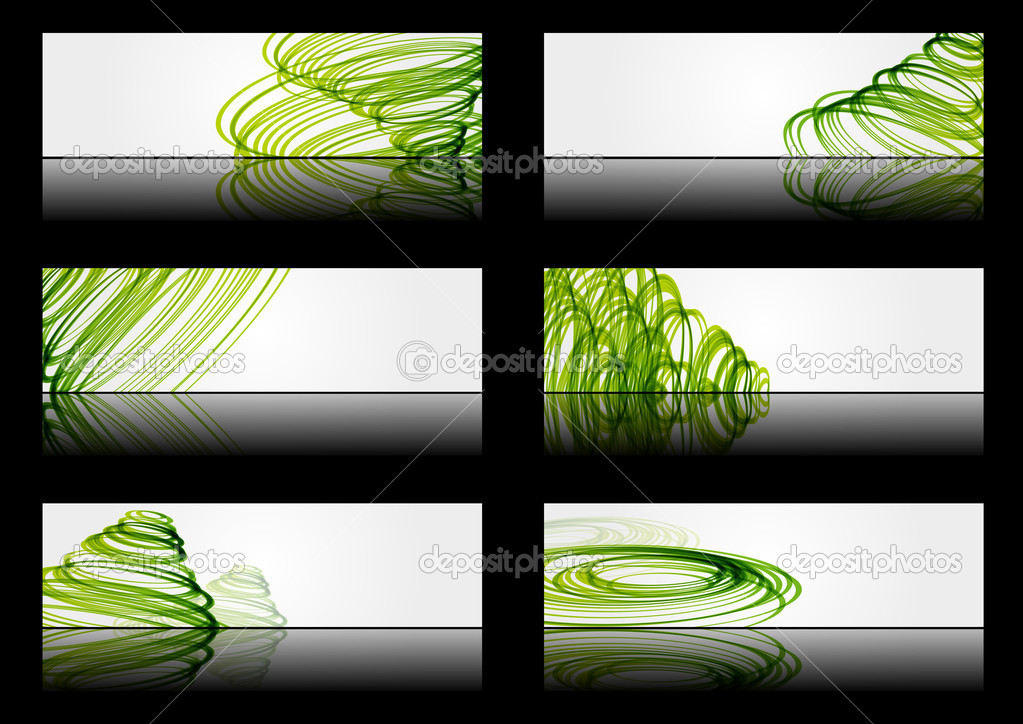 Set of abstract banners with green lines — Stock Vector #11891796