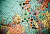Travel Map with Push Pins — Stock Photo