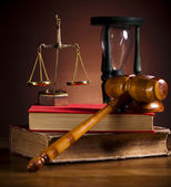Law theme, mallet of judge, wooden gavel — Foto Stock