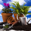 Garden on blue sky background — Stock Photo
