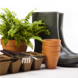 Garden boots with tool, plant — Stock Photo #11282394