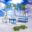 Laboratory  on blue sky background - Foto Stock