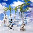 Laboratory  on blue sky background - Stock fotografie
