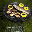 Grilling fish and shrimps — Stock Photo