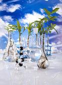Laboratory on blue sky background — Stock Photo