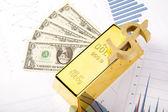 Financial indicators,Chart,Gold bar,money — Stock Photo