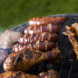 Grilling meat in flames, tasty dinner — Stockfoto