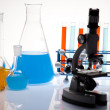 Assorted laboratory glassware , experiment — Stock Photo