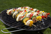 Skewers, Grill background — Stock Photo