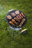 Grilling meat in flames, tasty dinner — Stock Photo
