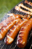Barbecue a hot summer evening, Grilling — Stock Photo