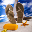 Summer background, suntan oil — Stock Photo #11381401