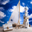 Sailboat concept, holiday, summer, beach Background - Stock Photo