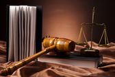 Law theme, mallet of judge, wooden gavel — Stock Photo