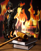 Wooden gavel barrister, justice concept — Stock Photo