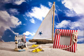 Sailboat on sand on beach Background — Stock Photo