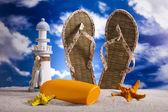 Flip-flops on a sandy beach — Stock Photo