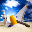 Suntan oil on beach — Stock Photo #11469035