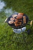 Barbecue a hot summer evening, Grilling — Stok fotoğraf