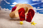 Flip flops on the beach — Foto Stock