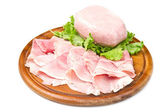Fresh ham on wooden board — Stock Photo