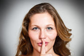A sign of being quiet- hush — Stock Photo