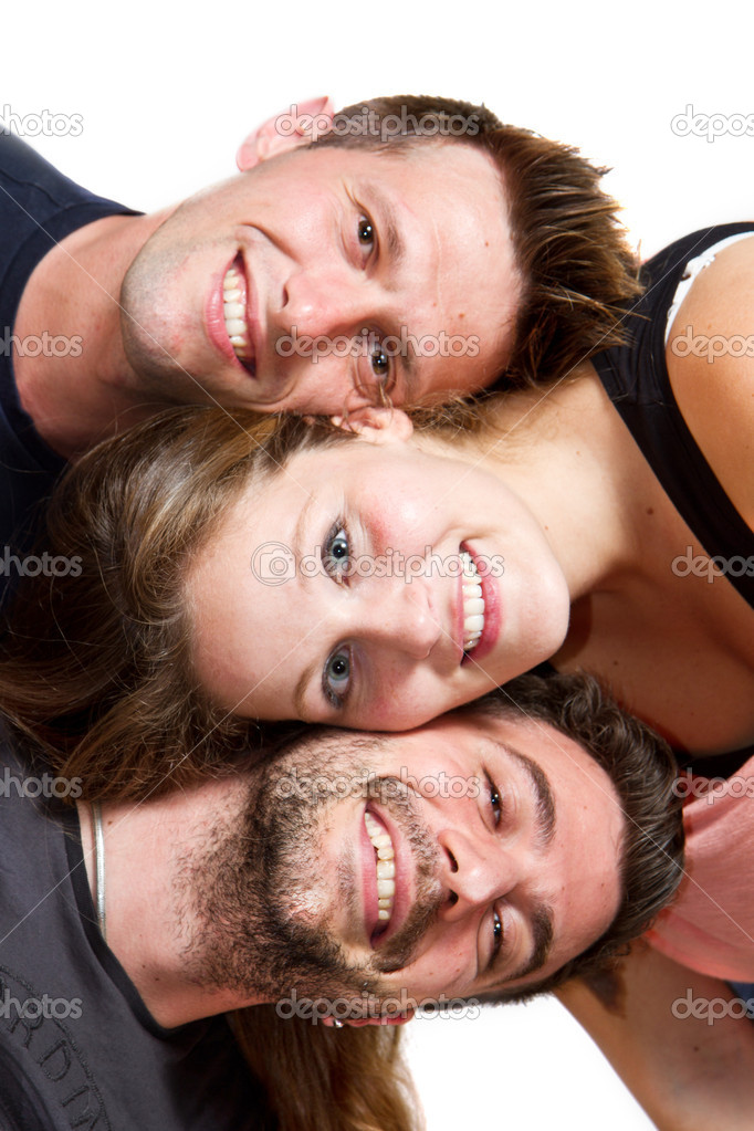 Happy group of friends isolated over white — Stock Photo #10971034