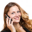 Business woman on her mobile phone - isolated over a white backg — Stock Photo
