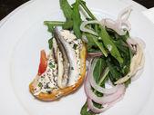 Bruschetta with anchovies — Stock Photo