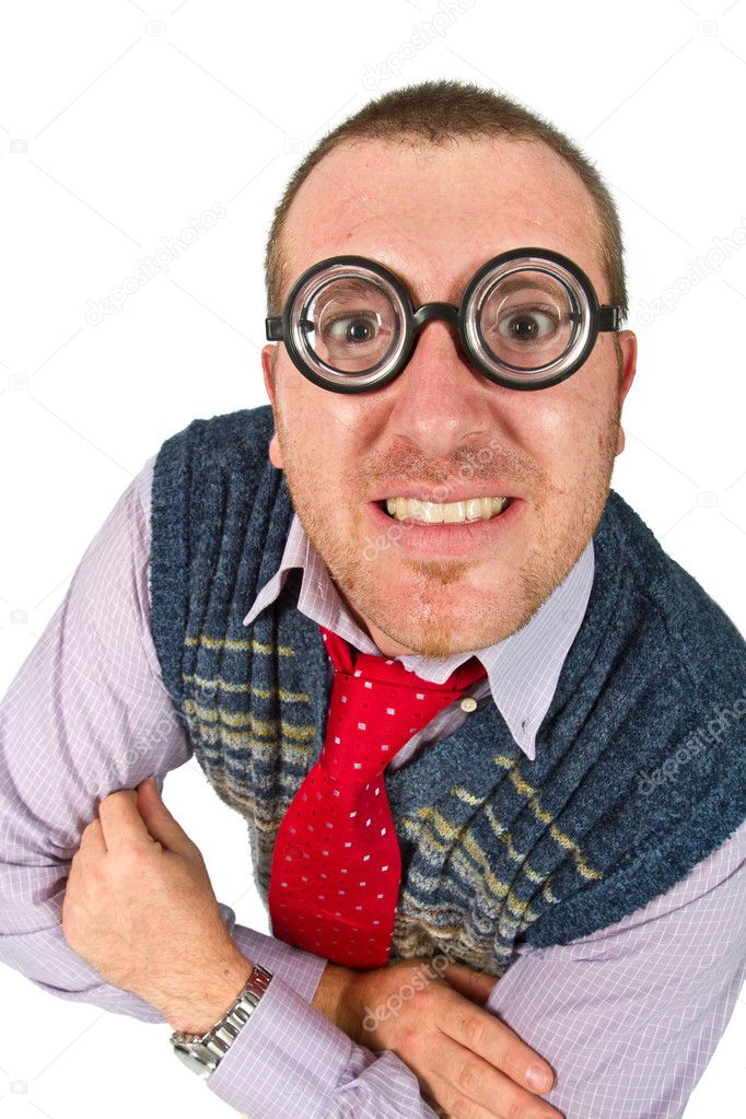 Funny nerd, isolated on white background — Stock Photo #11539859
